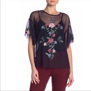 Vince Camuto Floral Embroidery Mesh Blouse Size S